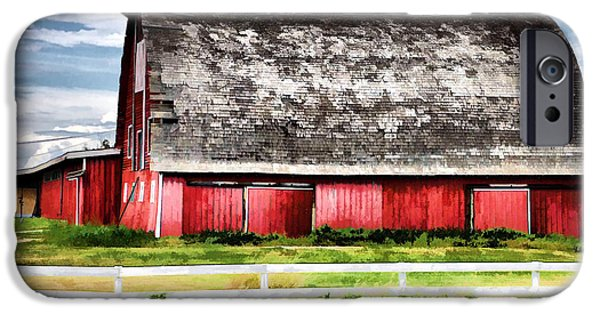 Buildings Mixed Media iPhone Cases - Priaire Barn  iPhone Case by Elaine Manley