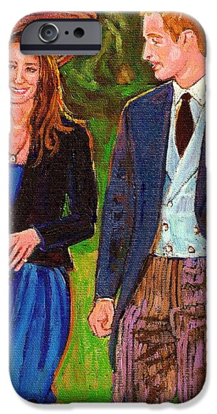 A Walk To Remember iPhone Cases - Prince William And Kate The Young Royals iPhone Case by Carole Spandau