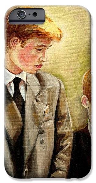 A Walk To Remember iPhone Cases - Prince William And Prince Harry iPhone Case by Carole Spandau