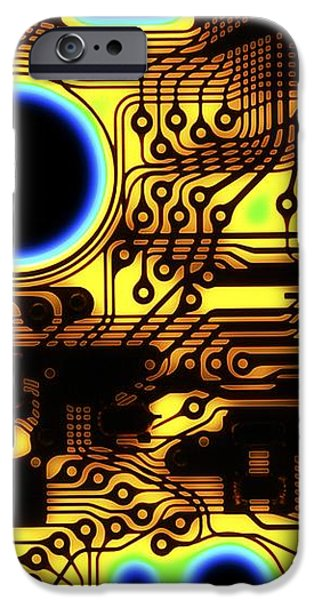 Printed Circuit, Macrophotograph iPhone Case by Pasieka