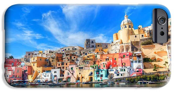 Panoramic Pyrography iPhone Cases - Procida iPhone Case by Francesco Riccardo  Iacomino