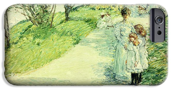 Childe iPhone Cases - Promenaders in the garden iPhone Case by Childe Hassam