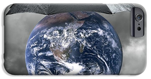 Cut-outs iPhone Cases - Protect The Planet, Conceptual Artwork iPhone Case by Victor De Schwanberg