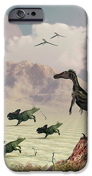 Protoceratops Stampede In Fear iPhone Case by Mark Stevenson
