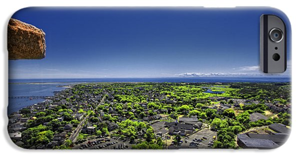 Panoramic Pyrography iPhone Cases - Provincetown Panoramic Aerial iPhone Case by Dapixara Art