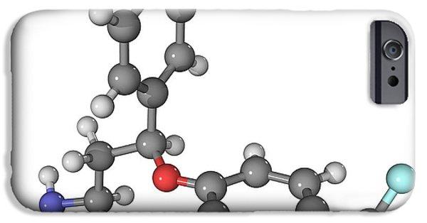 Antidepressant iPhone Cases - Prozac Antidepressant Molecule iPhone Case by Laguna Design
