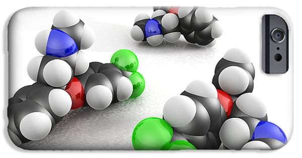 Antidepressant iPhone Cases - Prozac Molecules iPhone Case by Phantatomix