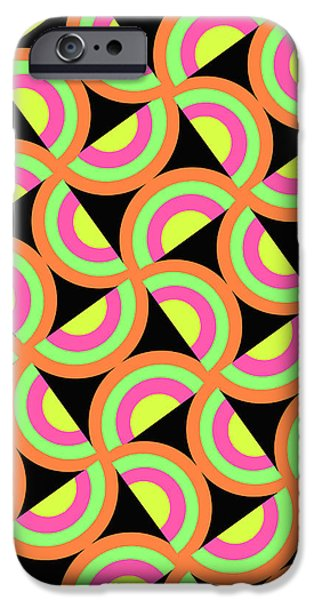 Psychedelic iPhone Cases - Psychedelic Squares iPhone Case by Louisa Knight