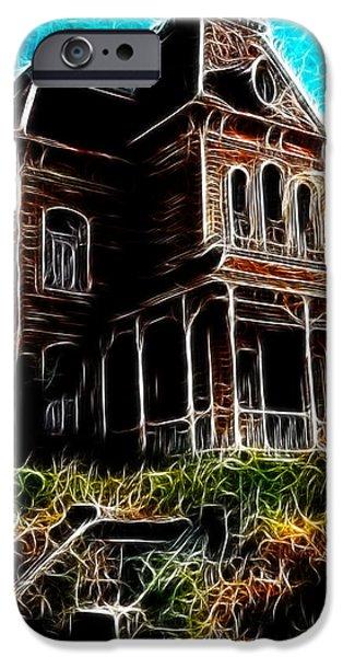 Eerie Drawings iPhone Cases - Psycho House iPhone Case by Paul Van Scott