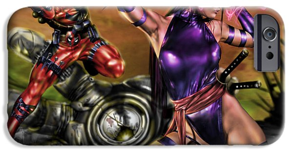 Xmen iPhone Cases - Psylocke and Deadpool iPhone Case by Pete Tapang