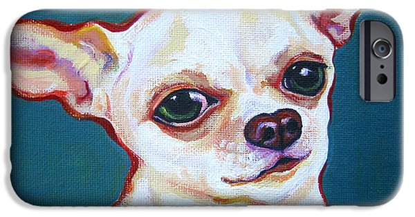 Chiwawa iPhone Cases - White Chihuahua - Puddy iPhone Case by Rebecca Korpita