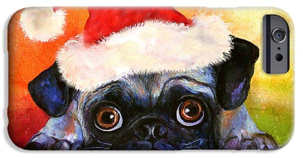 Puppy Drawings iPhone Cases - Pug Santa Portrait iPhone Case by Svetlana Novikova