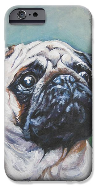 Puppies iPhone Cases - Pug with butterfly iPhone Case by Lee Ann Shepard
