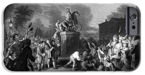 July 4th iPhone Cases - Pulling down the statue of George III iPhone Case by War Is Hell Store