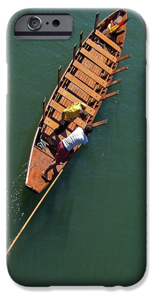 Punting iPhone Cases - Punt on the river iPhone Case by Matthias Hauser