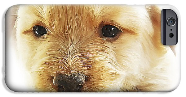Pups Digital Art iPhone Cases - Puppy Art iPhone Case by Svetlana Sewell
