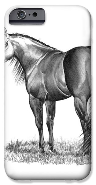 Drawing Of A Horse iPhone Cases - Pure Attitude iPhone Case by Cheryl Poland