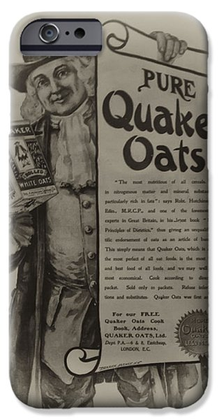 Oatmeal iPhone Cases - Pure Quaker Oates iPhone Case by Bill Cannon