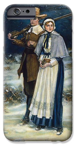 Colonial Man iPhone Cases - Puritans Going To Church iPhone Case by Granger