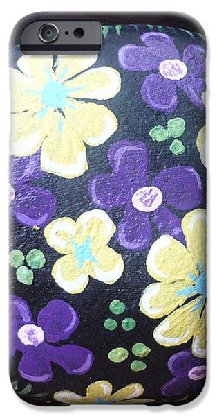 Purple and Yellow Flowers iPhone Case by Monika Dickson-Shepherdson