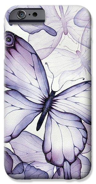 Purple iPhone Cases - Purple Butterflies iPhone Case by Christina Meeusen