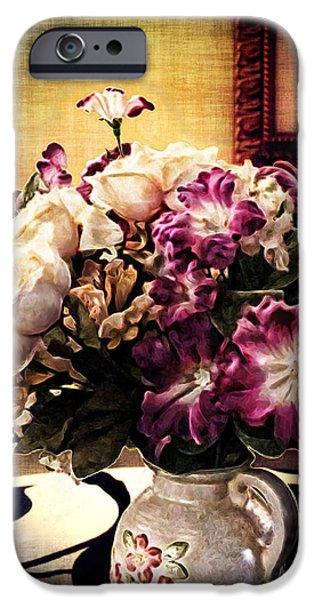 Antiques iPhone Cases - Purple Floral Arrangement iPhone Case by Joan  Minchak