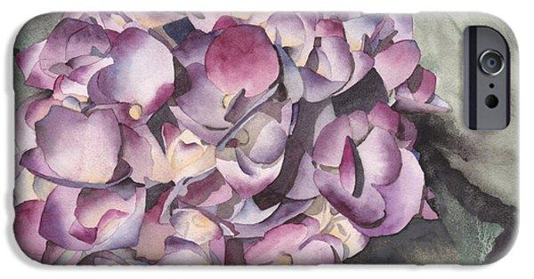 Purple Hydrangeas iPhone Cases - Purple Hydrangea iPhone Case by Ken Powers