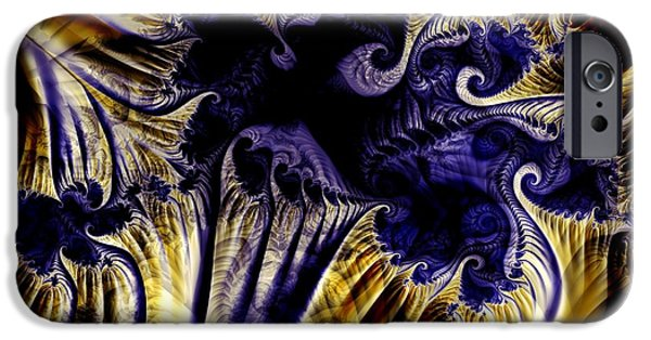 Henna iPhone Cases - Purple  Orange Henna iPhone Case by Ron Bissett