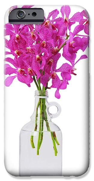Reflex iPhone Cases - Purple Orchid In Bottle iPhone Case by Atiketta Sangasaeng