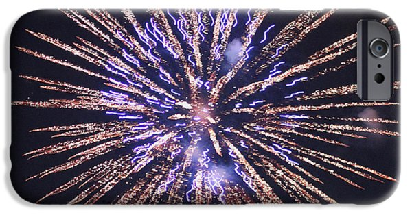 Fireworks iPhone Cases - Purple Pizazz iPhone Case by Suzanne Gaff