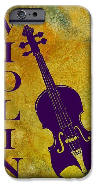 Violin iPhone Cases - Purple Violin on Gold iPhone Case by Jenny Armitage