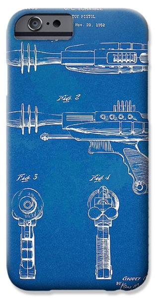 Figures Digital Art iPhone Cases - Pyrotomic Disintegrator Pistol Patent iPhone Case by Nikki Marie Smith