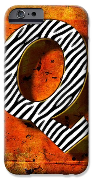 Computer Art Pyrography iPhone Cases - Q iPhone Case by Mauro Celotti