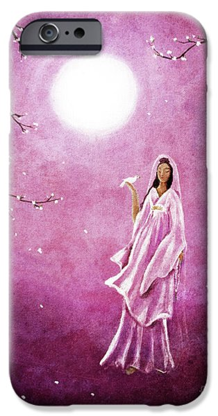 Buddhism iPhone Cases - Quan Yin in the Rosy Dawn iPhone Case by Laura Iverson