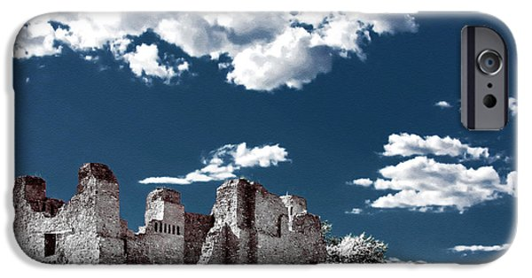 Pueblo Architecture iPhone Cases - Quarai New Mexico - Infrared false color iPhone Case by Christine Till