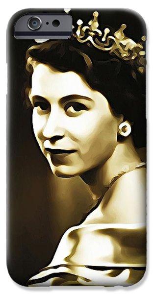 Queen Digital Art iPhone Cases - Queen Elizabeth II iPhone Case by Bill Cannon