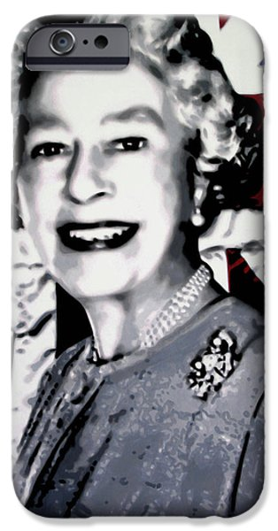 Ludzska Paintings iPhone Cases - Queen Elizabeth II iPhone Case by Luis Ludzska
