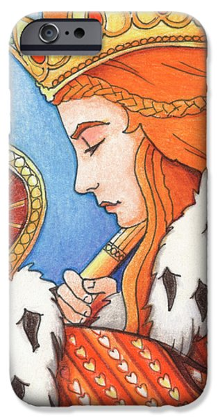 Queen Of Hearts iPhone Cases - Queen of Hearts iPhone Case by Amy S Turner