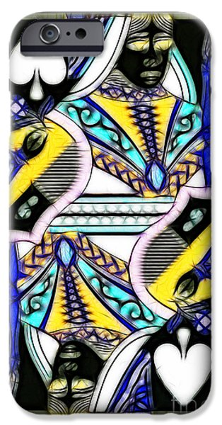 Queen of Spades - v2 iPhone Case by Wingsdomain Art and Photography
