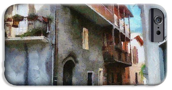 Balcony Digital Art iPhone Cases - Quiet in Almenno San Salvatore iPhone Case by Jeff Kolker