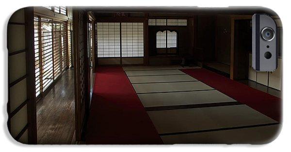 Kobe Photographs iPhone Cases - QUIETUDE of ZEN MEDITATION ROOM - KYOTO JAPAN iPhone Case by Daniel Hagerman