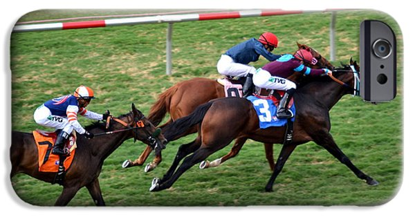 Horse Racing Photographs iPhone Cases - Race to the Finish iPhone Case by Fraida Gutovich