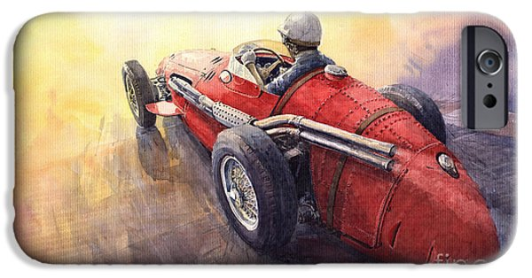 Auto iPhone Cases - Racing Light Maserati 250 F iPhone Case by Yuriy  Shevchuk