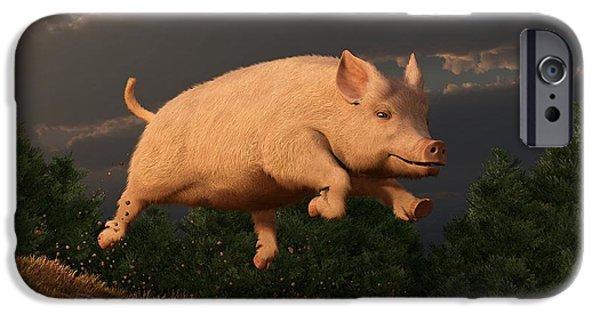 Barnyard Digital Art iPhone Cases - Racing Pig iPhone Case by Daniel Eskridge