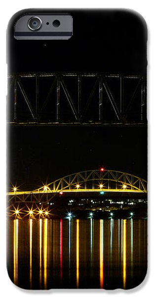 Railroad and Bourne Bridge at Night Cape Cod iPhone Case by Matt Suess