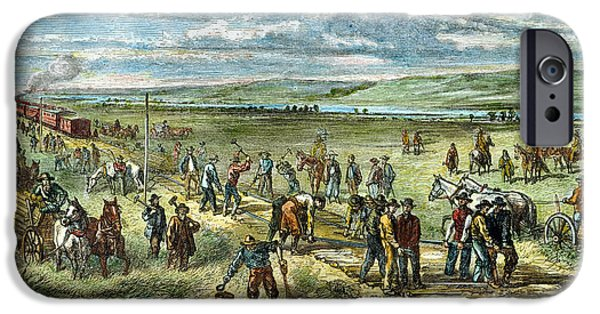 Destiny iPhone Cases - Railroad Construction 1867 iPhone Case by Granger