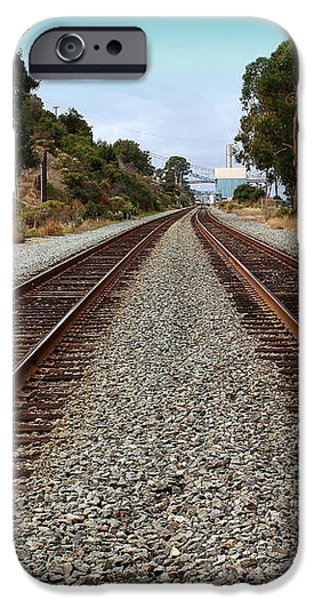 Railroad Tracks With The New Alfred Zampa Memorial Bridge and The Old Carquinez Bridge In Distance iPhone Case by Wingsdomain Art and Photography
