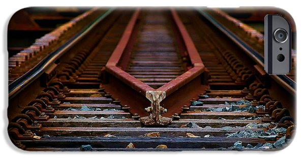 Rust Pyrography iPhone Cases - Railway track leading to where iPhone Case by Blair Stuart