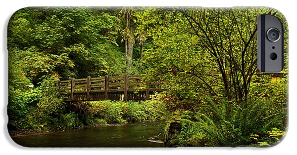 State Parks In Oregon iPhone Cases - Rain Forest Bridge iPhone Case by Adam Jewell