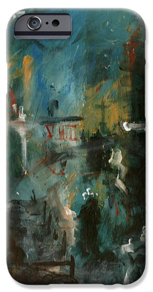 Abstract Rain iPhone Cases - Rain in the Night City iPhone Case by David Finley